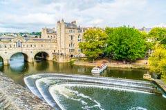 BATH, ENGLAND - AUG 30, 2019:View Of The Pulteney Bridge River Avon In Bath, England Royalty Free Stock Image