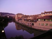 Bath river, BATH, ENGLAND, UK. BATH, ENGLAND - DECEMBER 19, 2017: reflection river and city view of Bath at twilight time. Bath is known for curative Roman-built Royalty Free Stock Photos