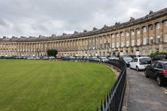 BATH, ENGLAND/ EUROPE - OCTOBER 18: View of the Royal Crescent i. N Bath Somerset on October 18, 2015. Unidentified people Stock Photography
