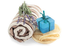 Bath equipment. Soap, washcloth, towel and lavender Stock Photography