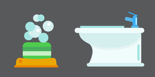Bath equipment icon toilet bowl bathroom clean flat style illustration hygiene bidet design. Royalty Free Stock Images