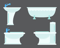 Bath equipment icon toilet bowl bathroom clean flat style illustration hygiene design. Royalty Free Stock Photography