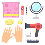 Bath equipment icons modern shower colorful illustration for bathroom interior hygiene vector design. Royalty Free Stock Image