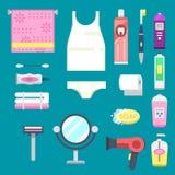 Bath equipment icons modern shower colorful illustration for bathroom interior hygiene vector design. Stock Images