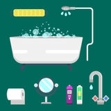 Bath equipment icons modern shower colorful illustration for bathroom interior hygiene vector design. Bath equipment icons made in modern shower flat style vector illustration