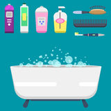 Bath equipment icons modern shower colorful illustration for bathroom interior hygiene vector design. Royalty Free Stock Photo
