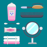 Bath equipment icons modern shower colorful illustration for bathroom interior hygiene vector design. Stock Photography