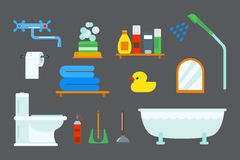 Bath equipment icons shower flat style colorful clip art illustration for bathroom hygiene vector design. Bath equipment icons made in modern shower flat style Royalty Free Stock Photography