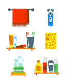 Bath equipment icons shower flat style colorful clip art illustration for bathroom hygiene vector design. Stock Photography