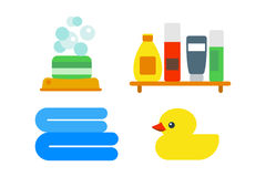 Bath equipment icons shower flat style colorful clip art illustration for bathroom hygiene vector design. Stock Images