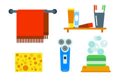 Bath equipment icons shower flat style colorful clip art illustration for bathroom hygiene vector design. Stock Photo