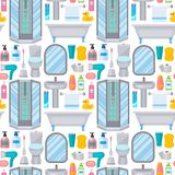 Bath equipment toilet bowl clean bathroom flat style illustration hygiene design seamless pattern background. stock illustration