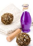 Bath equipments. Shower gel with decorations on a towel Stock Images
