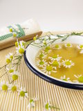 Bath essence with chamomile Royalty Free Stock Image
