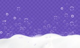 Bath foam with soap bubbles isolated on transparent background. Cleaning concept. Vector design royalty free illustration