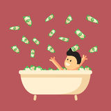 Bath full of money with happy man in it. Royalty Free Stock Photos