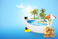 Bath full of sea surrounded by palm trees and things travel Stock Photos