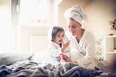 After bath is fun playing with My Mother. royalty free stock photography