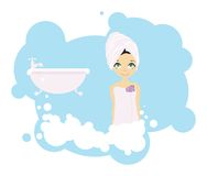 Bath girl Stock Image