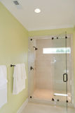 Bath with glass shower. Bathroom interior with glass shower Stock Image