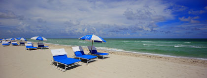 Bath House Miami Beach beach chairs and umbrellas Stock Image