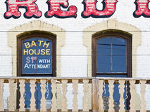 Bath House in the Old West. Bath House above an Old West Saloon Stock Images