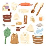 Bath house sauna hot water spa termal steam healthcare concept bathroom broom and bucket vector illustration. Russian bath-house icons wood material water care Royalty Free Stock Images