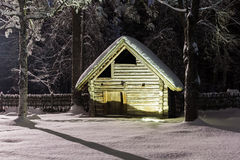 Bath house in the winter night Stock Image