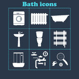 Bath icons set.Home equipment .vector illustration Stock Photography