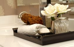 Bath items. Toiletries and bath items on bathroom vanity Royalty Free Stock Photos