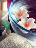 Bath items. Floating aromatherapy candles and bath items Royalty Free Stock Image