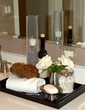 Bath items on bathroom vanity Royalty Free Stock Photography