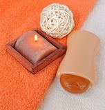 Bath items with a candle. Bath items for shower with a candle Stock Photography