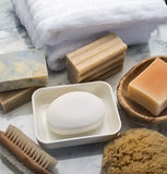 Bath items. On marble with soap dish towel and sponge Royalty Free Stock Photo