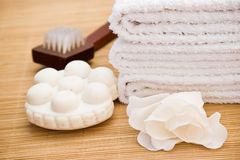 Bath items with massage soap Royalty Free Stock Image
