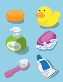 Bath kit for kids. Set of bath kits for kids which include sponge, rubber duck, shampoo, soap, brush and tooth paste in bright and cheerful color Royalty Free Stock Image