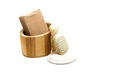 Bath kit. With pumice, lavander soap and oil in wooden box royalty free stock image