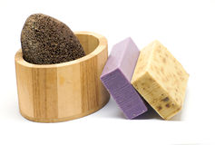 Bath kit with pumice royalty free stock photos