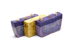 Bath kit. With sponge, olive soap and oil in wooden box stock photography