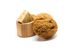 Bath kit. With sponge, olive soap and oil in wooden box royalty free stock images