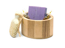 Bath kit. With sponge, olive soap and oil in wooden box stock photo