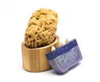 Bath kit. With sponge, olive soap and oil in wooden box stock photos