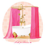 Bath. Luxury bathroom. Vector illustration. Royalty Free Stock Images