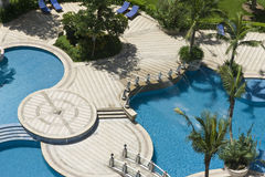Bath luxury swimming pool, spa, in hainan island h. Wimming pool, a bird's eye view of the perspective Stock Photos