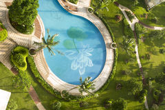 Bath luxury swimming pool, spa, in hainan island h. Wimming pool, a bird's eye view of the perspective Royalty Free Stock Photos