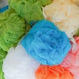 Bath mesh. Mesh pouf bath sponge with exfoliating texture Royalty Free Stock Photos