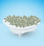 Bath with money, dollars, wealth and success Royalty Free Stock Photography