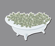 Bath with money, dollars, wealth and success Stock Photo