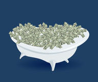 Bath with money, dollars, wealth and success Royalty Free Stock Photos