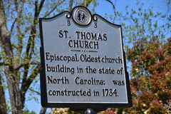 Bath, NC: 1734 St. Thomas Church Historic Sign Stock Photography